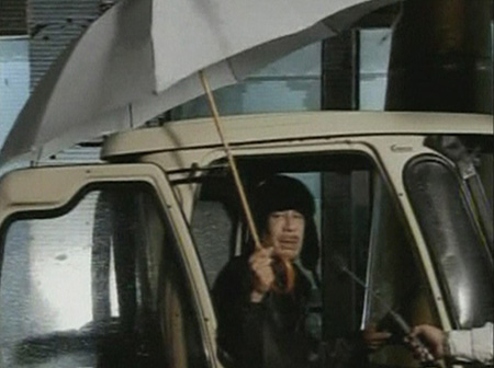 Muammar Gaddafi Umbrella Picture